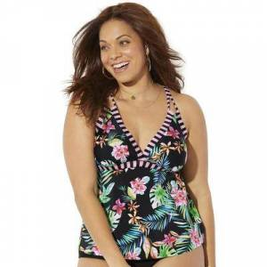 Swimsuits For All Plus Size Women's Loop Strap Tankini Top by Swimsuits For All in Pink Tropical Stripe (Size 14)