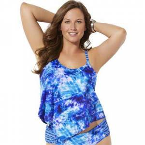 Swimsuits For All Plus Size Women's Scarf X-Back Tankini Top by Swimsuits For All in Tie Dye (Size 12)