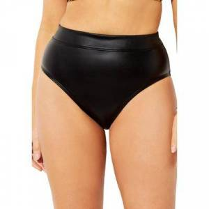 Swimsuits For All Plus Size Women's GabiFresh Faux Leather Bikini Bottom by Swimsuits For All in Black (Size 16)