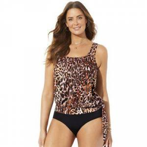 Swimsuits For All Plus Size Women's Side Tie Blouson Tankini Top by Swimsuits For All in Animal Print (Size 14)