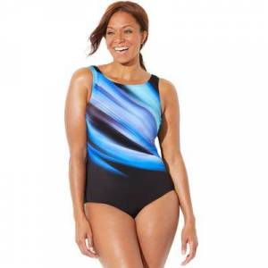 Swimsuits For All Plus Size Women's Chlorine Resistant Lycra Xtra Life High Neck One Piece Swimsuit by Swimsuits For All in Abstract (Size 12)