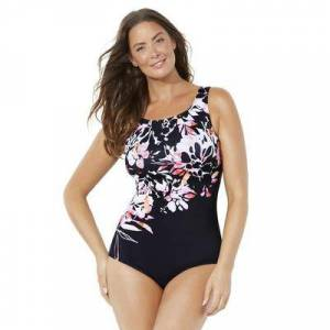 Swimsuits For All Plus Size Women's Chlorine Resistant Lycra Xtra Life High Neck One Piece Swimsuit by Swimsuits For All in Engineered Coral Floral (Size 12)