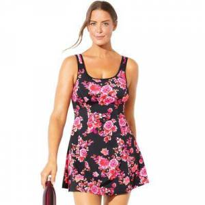 Swimsuits For All Plus Size Women's Chlorine Resistant Tank Swimdress by Swimsuits For All in Orange Floral (Size 12)