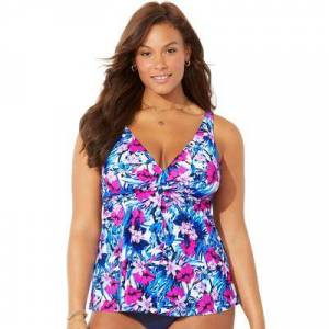 Swimsuits For All Plus Size Women's V-Neck Twist Tankini Top by Swimsuits For All in Blue Pink Flower (Size 12)