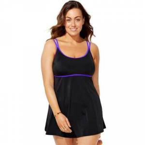 Swimsuits For All Plus Size Women's Lingerie Strap Swimdress by Swimsuits For All in Black Electric Iris (Size 12)