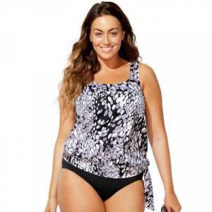 Swimsuits For All Plus Size Women's Side Tie Blouson Tankini Top by Swimsuits For All in Dew Drop (Size 28)