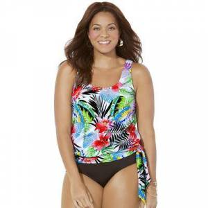 Swimsuits For All Plus Size Women's Side Tie Blouson Tankini Top by Swimsuits For All in Hibiscus (Size 14)