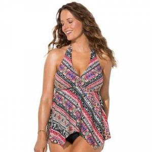 Swimsuits For All Plus Size Women's Handkerchief Halter Tankini Top by Swimsuits For All in Neutral Scarf (Size 8)