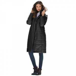 Roaman's Plus Size Women's Mid-Length Puffer Jacket with Hood by Roaman's in Black (Size M)