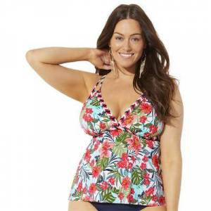 Swimsuits For All Plus Size Women's Loop Strap Tankini Top by Swimsuits For All in Honolulu Floral (Size 18)