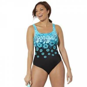 Swimsuits For All Plus Size Women's Chlorine Resistant Tank One Piece Swimsuit by Swimsuits For All in New Turq Floral (Size 12)