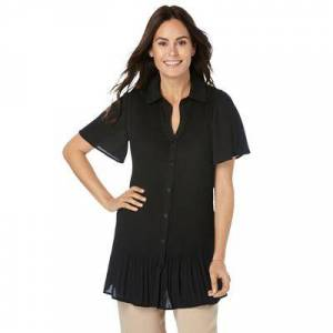 Woman Within Plus Size Women's Blouse In Crinkle Georgette by Woman Within in Black (Size 18/20)