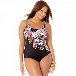 Swimsuits For All Plus Size Women's Tank One Piece Swimsuit by Swimsuits For All in Garden Party (Size 12)
