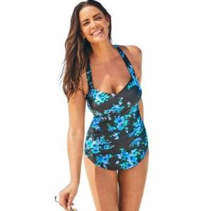 Swimsuits For All Plus Size Women's Chlorine Resistant H-Back Sarong Front One Piece Swimsuit by Swimsuits For All in Blue Poppies (Size 12)