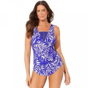 Swimsuits For All Plus Size Women's Lattice Sarong Front One Piece Swimsuit by Swimsuits For All in Purple Palm (Size 12)