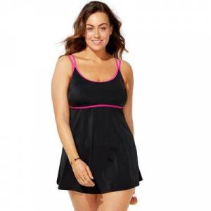 Swimsuits For All Plus Size Women's Lingerie Strap Swimdress by Swimsuits For All in Black Pink (Size 12)