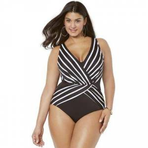 Swimsuits For All Plus Size Women's Surplice One Piece Swimsuit by Swimsuits For All in Black White Stripe (Size 6)