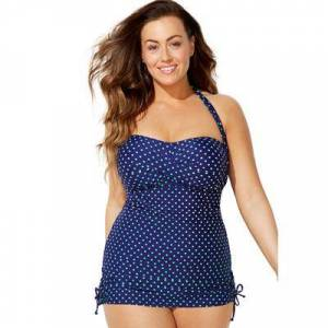 Swimsuits For All Plus Size Women's Adjustable Sheath One Piece Swimsuit by Swimsuits For All in Navy Mint (Size 6)