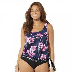 Swimsuits For All Plus Size Women's Side Tie Blouson Tankini Top by Swimsuits For All in Navy Pink Floral (Size 22)