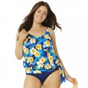 Swimsuits For All Plus Size Women's Side Tie Blouson Tankini Top by Swimsuits For All in Yellow Flower (Size 8)