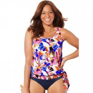 Swimsuits For All Plus Size Women's Side Tie Blouson Tankini Top by Swimsuits For All in White Floral (Size 14)