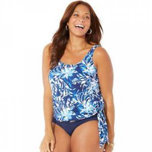 Swimsuits For All Plus Size Women's Side Tie Blouson Tankini Top by Swimsuits For All in Blue Swirl (Size 14)
