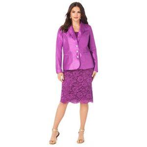 Roaman's Plus Size Women's Two-Piece Lace Skirt Suit by Roaman's in Purple Magenta (Size 14 W)
