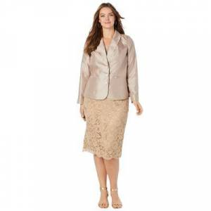 Roaman's Plus Size Women's Two-Piece Lace Skirt Suit by Roaman's in Sparkling Champagne (Size 16 W)