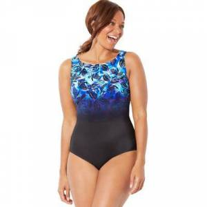 Swimsuits For All Plus Size Women's Chlorine Resistant Lycra Xtra Life High Neck One Piece Swimsuit by Swimsuits For All in Blue Green Floral (Size 12)
