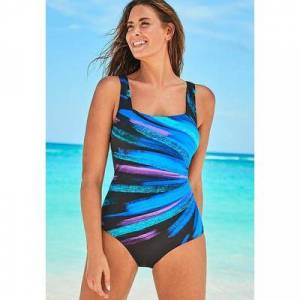 Swimsuits For All Plus Size Women's Chlorine Resistant Lycra Xtra Life Square Neck One Piece Swimsuit by Swimsuits For All in Wispy Bouquet (Size 18)