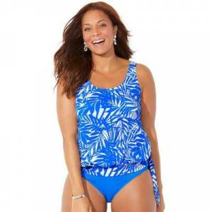 Swimsuits For All Plus Size Women's Side Tie Blouson Tankini Top by Swimsuits For All in Blue Tropical (Size 8)