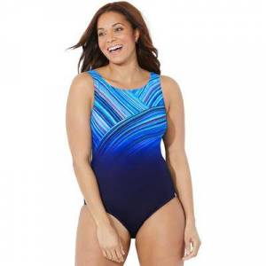 Swimsuits For All Plus Size Women's Chlorine Resistant High Neck One Piece Swimsuit by Swimsuits For All in Blue (Size 12)