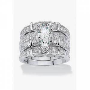PalmBeach Jewelry Plus Size Women's Silver Marquise Cut 3 Piece Multi Row Bridal Ring Set Cubic Zirconia by PalmBeach Jewelry in Silver (Size 8)