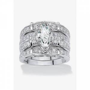 PalmBeach Jewelry Plus Size Women's Silver Marquise Cut 3 Piece Multi Row Bridal Ring Set Cubic Zirconia by PalmBeach Jewelry in Silver (Size 7)