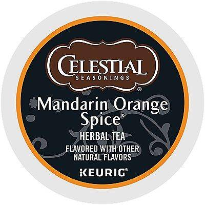 Celestial Seasonings 72 Ct Celestial Seasonings Mandarin Orange Spice Tea 72-Count (3 Boxes Of 24) K-Cup Pods.