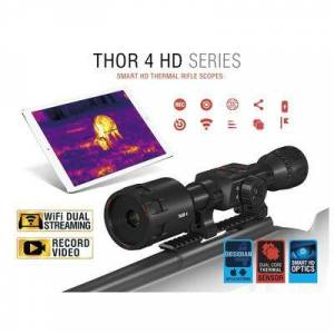 ATN ThOR 4 HD Thermal Rifle Scope 2.5-25x, 640x480 with HD Video Recording, Wi-Fi, GPS, Smooth Zoom, Smartphone Control via iOS or Android app Matte