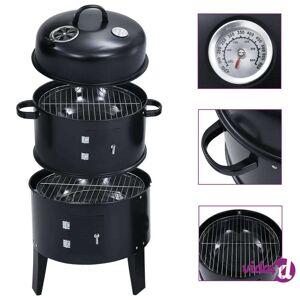 """vidaXL 3-in-1 Charcoal Smoker BBQ Grill 15.7""""x31.4""""  - Black"""