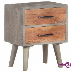 "vidaXL Bedside Cabinet Gray 15.7""x11.8""x19.7"" Solid Rough Mango Wood  - Grey"
