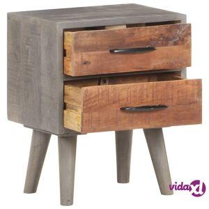"vidaXL Bedside Cabinet Gray 15.7""x11.8""x19.7"" Solid Rough Mango Wood  - Grey"