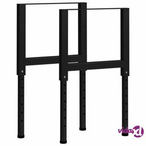 "vidaXL Adjustable Work Bench Frames 2 pcs Metal 21.7""x(27.2""-37.6"") Black  - Black"