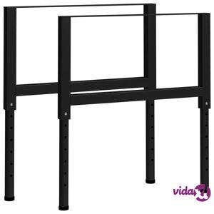 "vidaXL Adjustable Work Bench Frames 2 pcs Metal 33.5""x(27.2""-37.6"") Black  - Black"