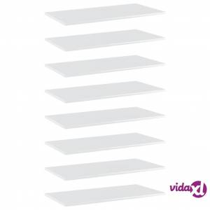"vidaXL Bookshelf Boards 8 pcs High Gloss White 31.5""x15.7""x0.6"" Chipboard  - White"