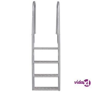 "vidaXL 4-Step Dock/Pool Ladder Aluminum 65.7""  - Silver"