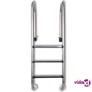 """vidaXL Pool Ladder 3 Steps Stainless Steel 304 47.2""""  - Silver"""