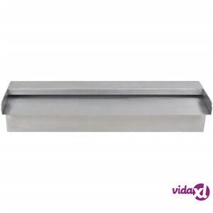 "vidaXL Rectangular Waterfall Pool Fountain Stainless Steel 17.7""  - Silver"