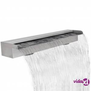 """Rectangular Waterfall Pool Fountain Stainless Steel 35.4""""  - Silver"""