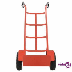 vidaXL Red and Black Metal Foldable Cart