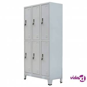 "vidaXL Locker Cabinet with 6 Compartments Steel 35.4""x17.7""x70.9"" Gray  - Grey"