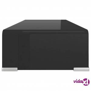 "vidaXL TV Stand / Monitor Riser Glass Black 23.6""x9.8""x4.3""  - Black"