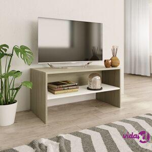 "vidaXL TV Cabinet White and Sonoma Oak 31.5""x15.7""x15.7"" Chipboard  - Beige"